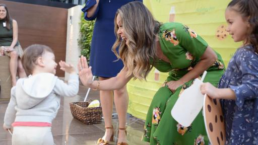Actress and TV host Vanessa Lachey spends time with young guests at the kick-off event for the Holiday Inn brand's Chocolate Milk Happy Hour, back for the second year.