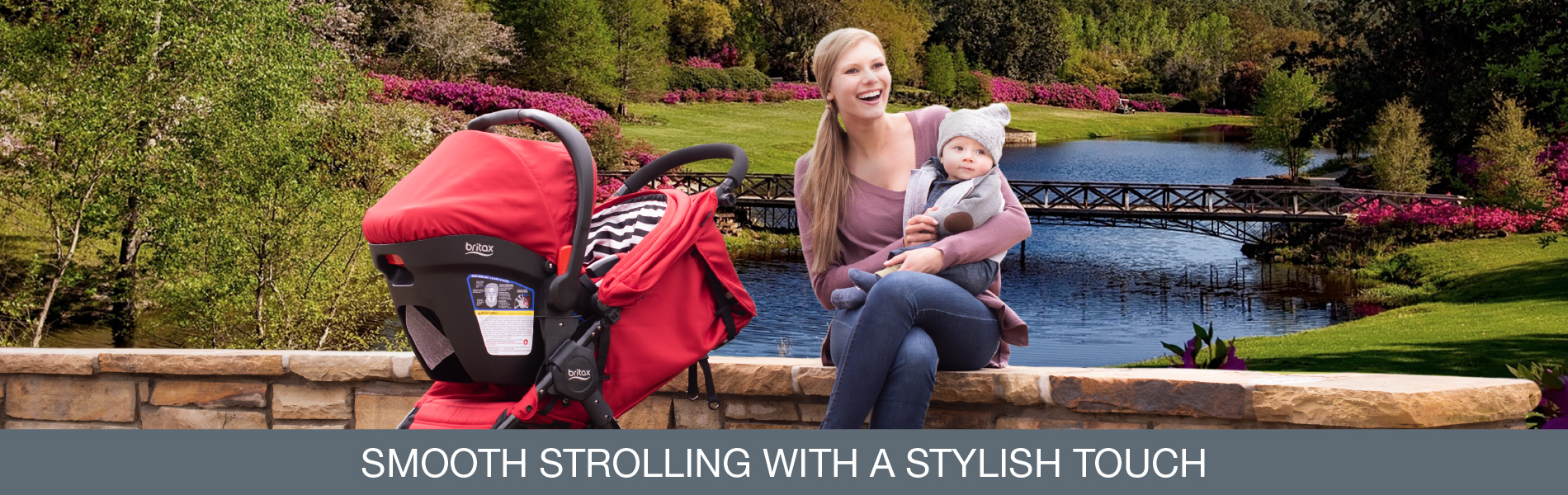 The Pathway Stroller and Travel System come in four bold fashions that peek out from below the canopies of both the stroller and car seat.