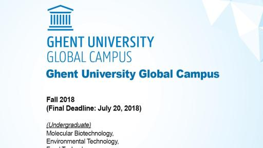 Admission Info of Ghent University Global Campus
