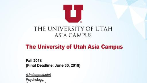 Admission Info of The University of Utah Asia Campus