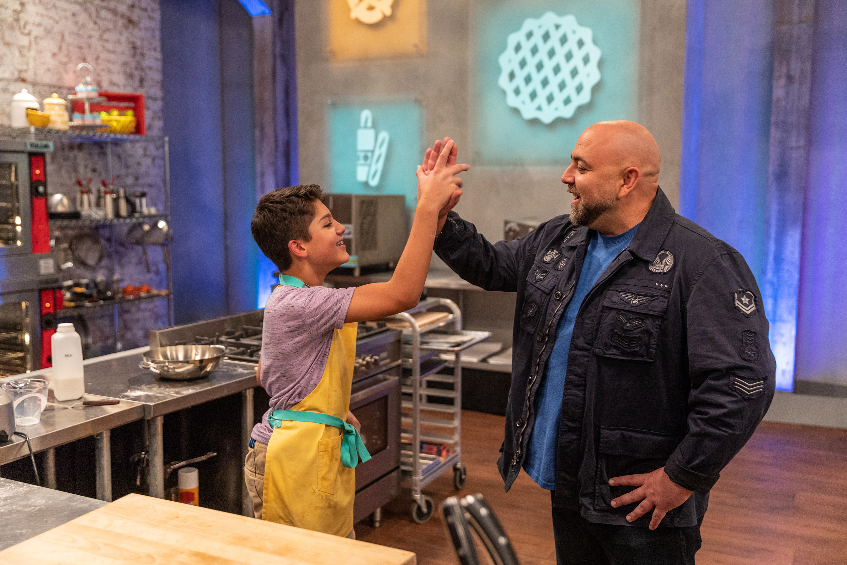 Enzo Consani and Duff Goldman on Food Network's Kids Baking Championship