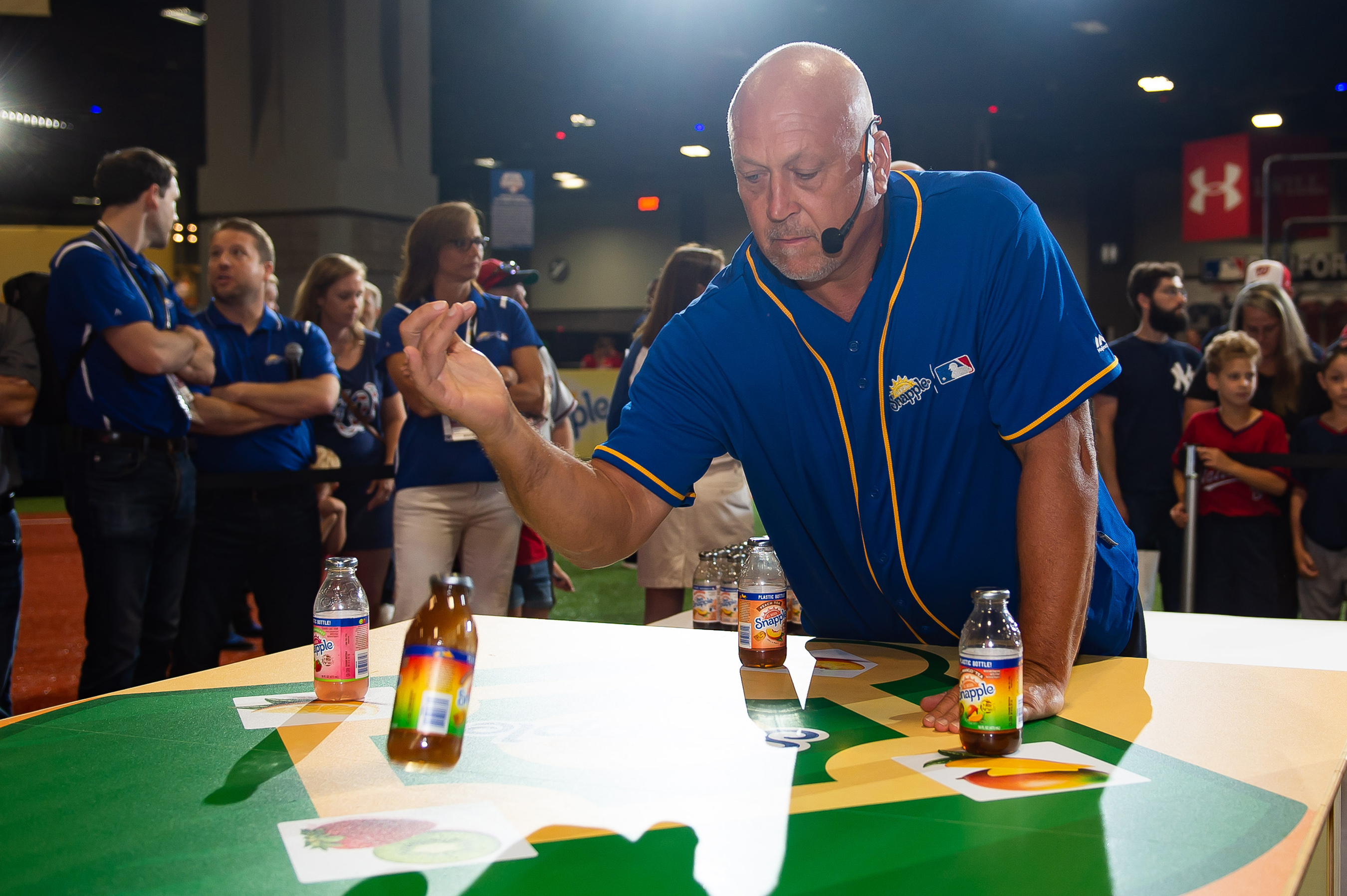 "Snapple hosted its first-ever All-Star Bottle Flip Challenge at FanFest with former MLB All-Stars Cal Ripken Jr. and Cliff Floyd. The players accurately flipped Snapple bottles onto fruit bases in the battle to be crowned ""Flip for Flavor"" champion."