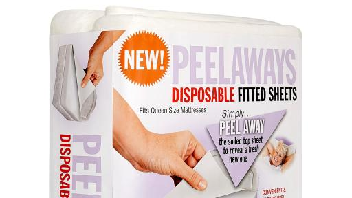 A product package of the Peelaway fitted sheet.