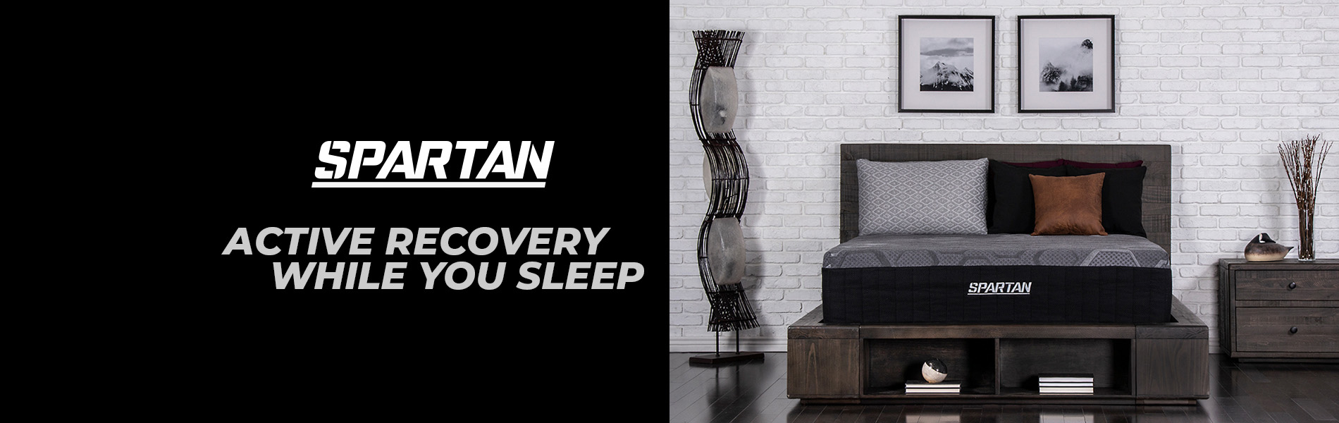 Image with a bed that has text beside it that says: Spartan, active recovery while you sleep.