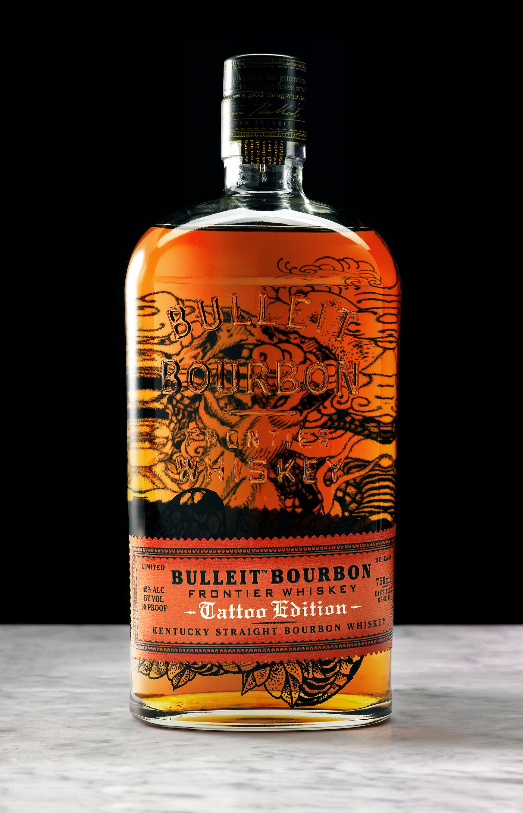 Bulleit Bourbon Tattoo Edition bottle designed by Portland tattoo artist Jason Kundell