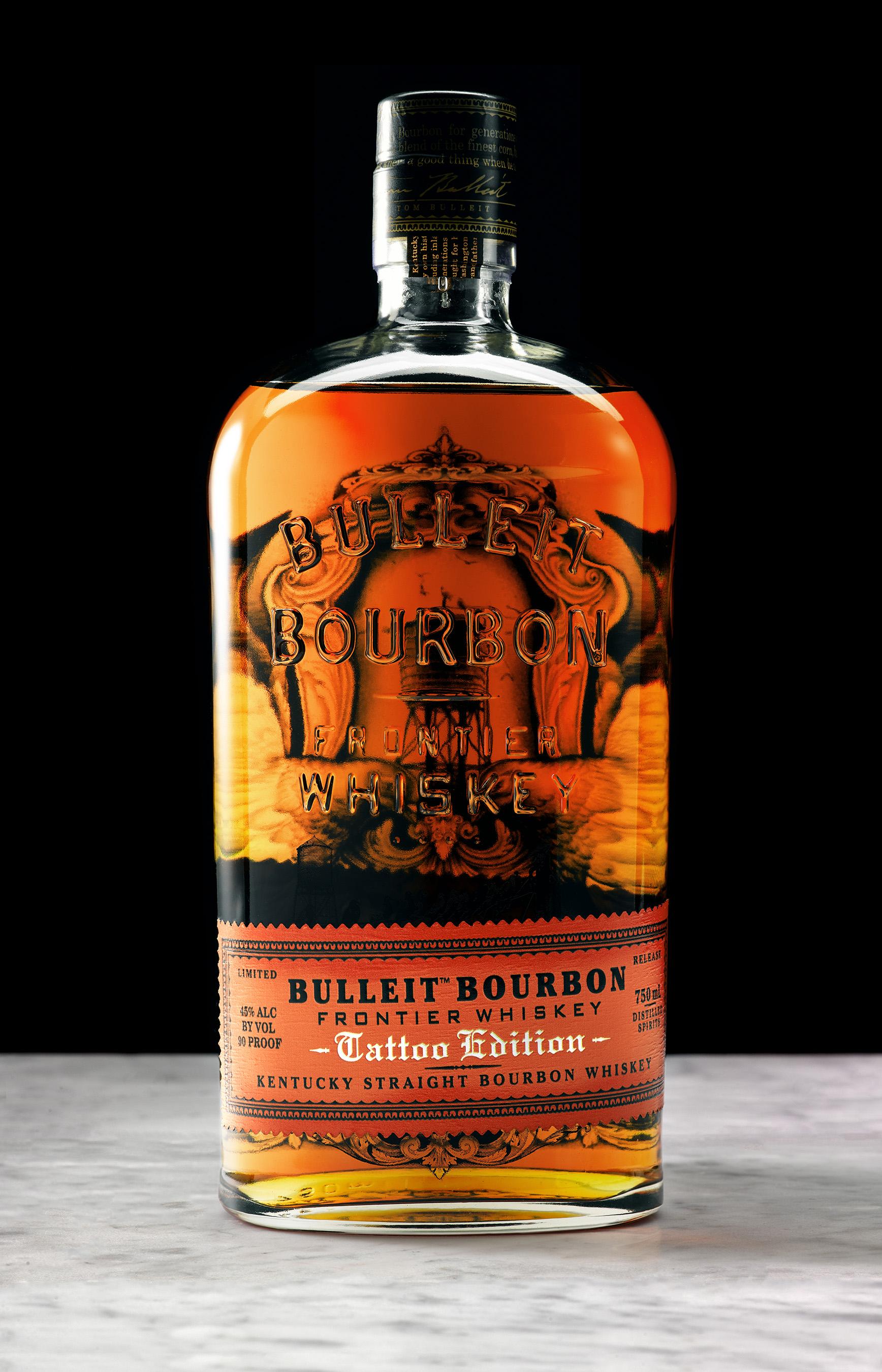 Bulleit Bourbon Tattoo Edition bottle designed by New York tattoo artist Jess Mascetti