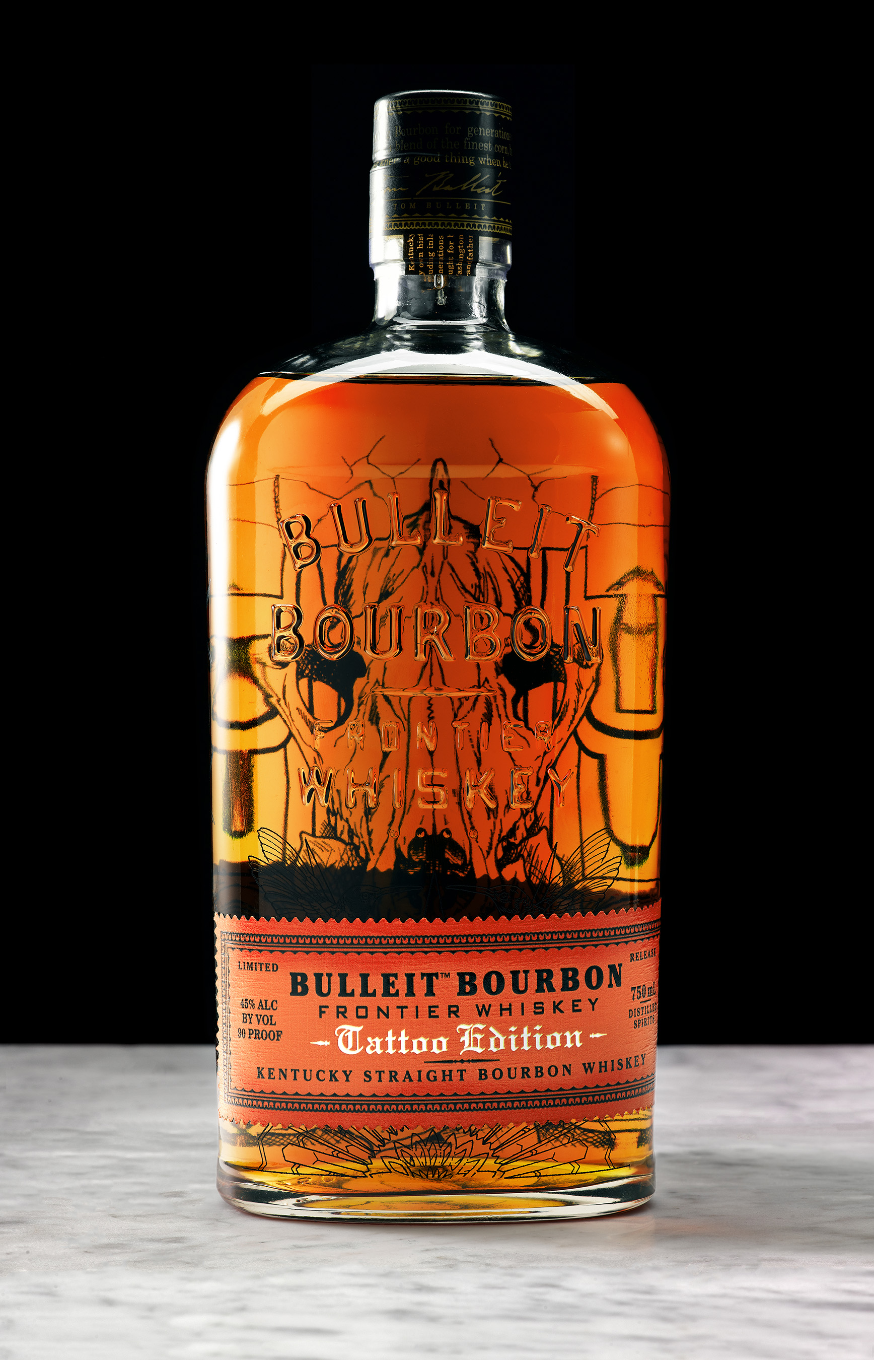 Bulleit Bourbon Tattoo Edition bottle designed by Los Angeles tattoo artist Shawn Barber