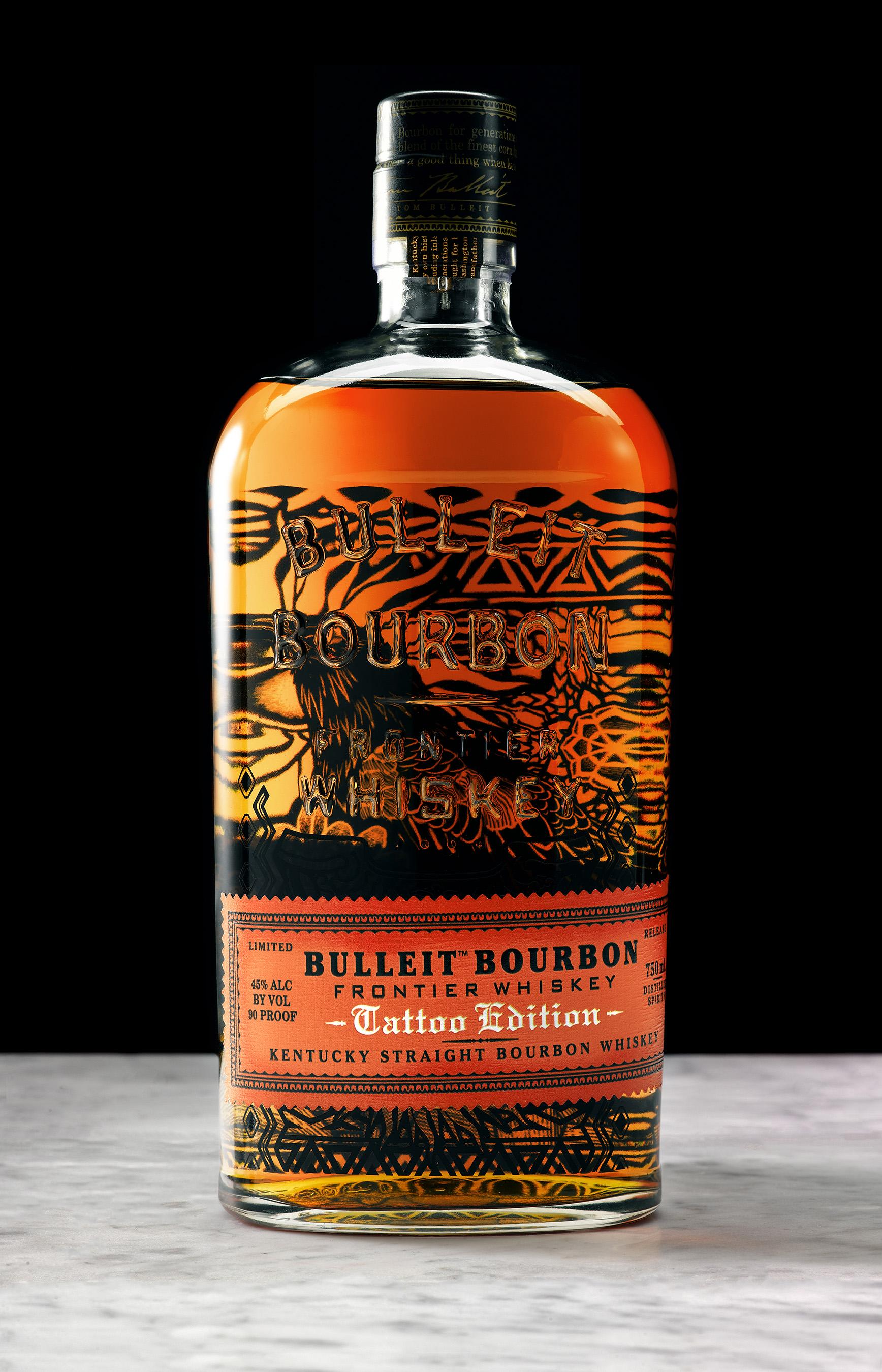 Bulleit Bourbon Tattoo Edition bottle designed by Austin tattoo artist Thomas Hooper