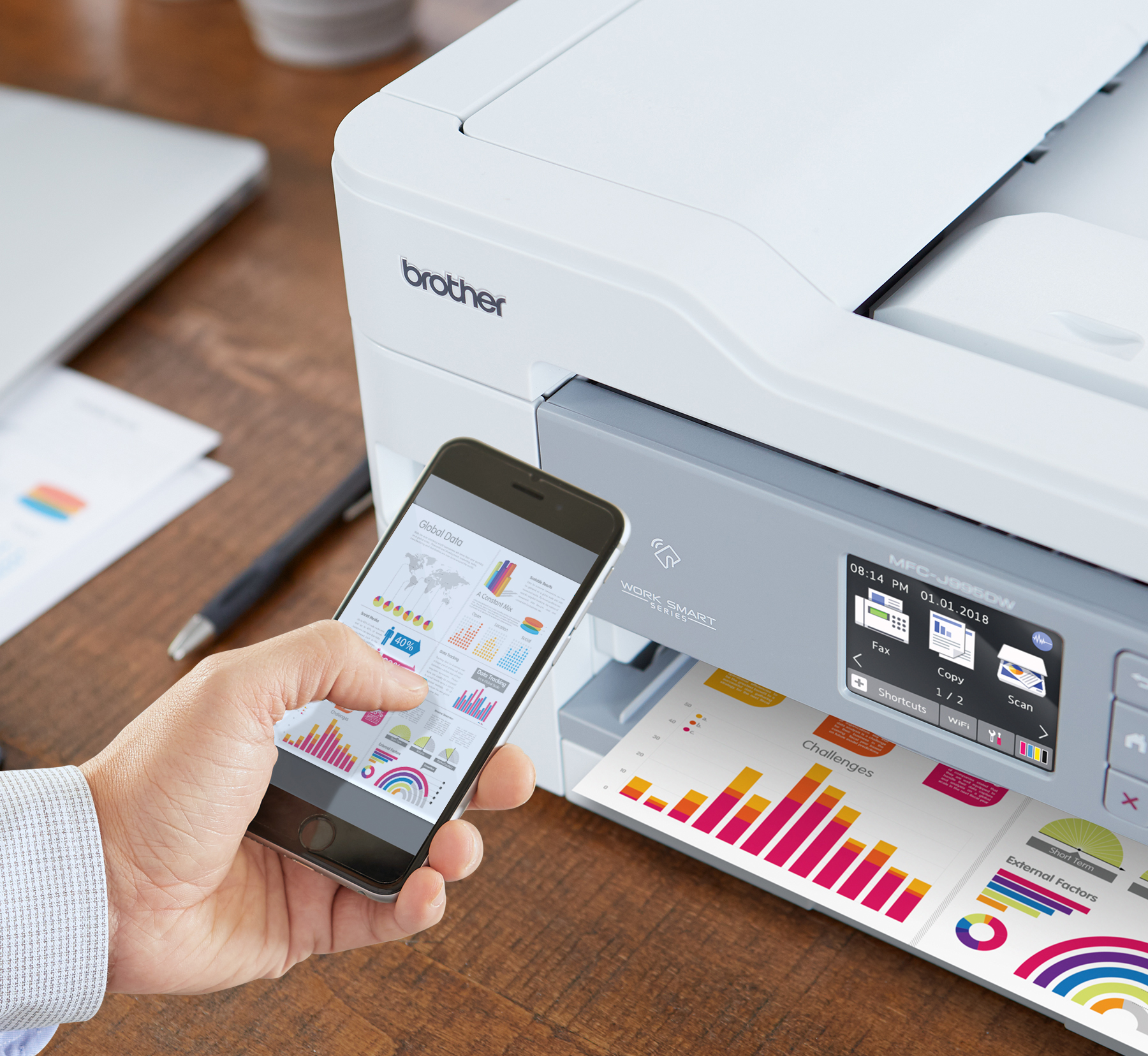 With the Brother INKvestment Tank inkjet printer, print wirelessly from your desktop, laptop, smartphone and tablet(4)