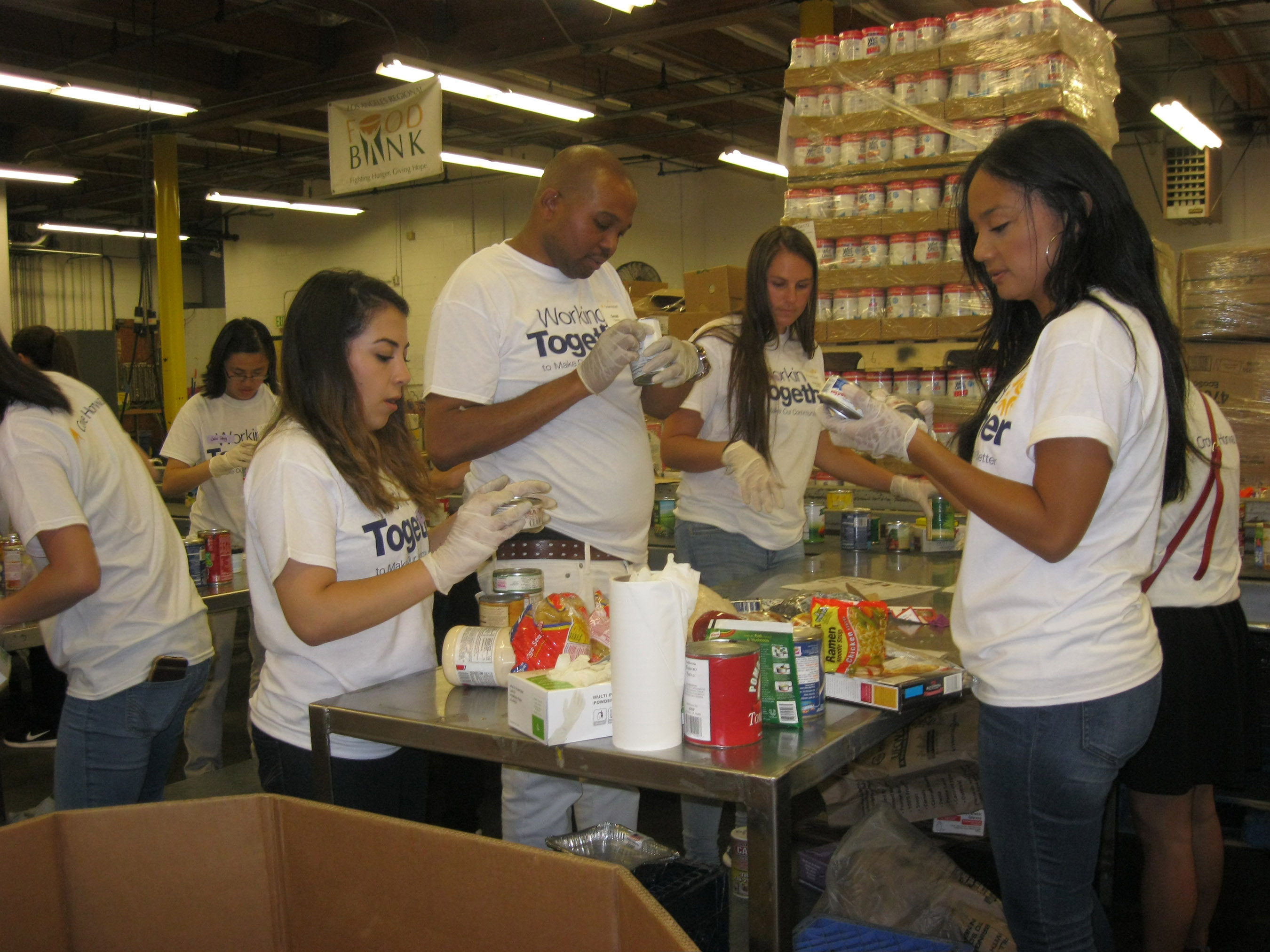 Southern California personnel volunteer at a food bank in the Los Angeles area.