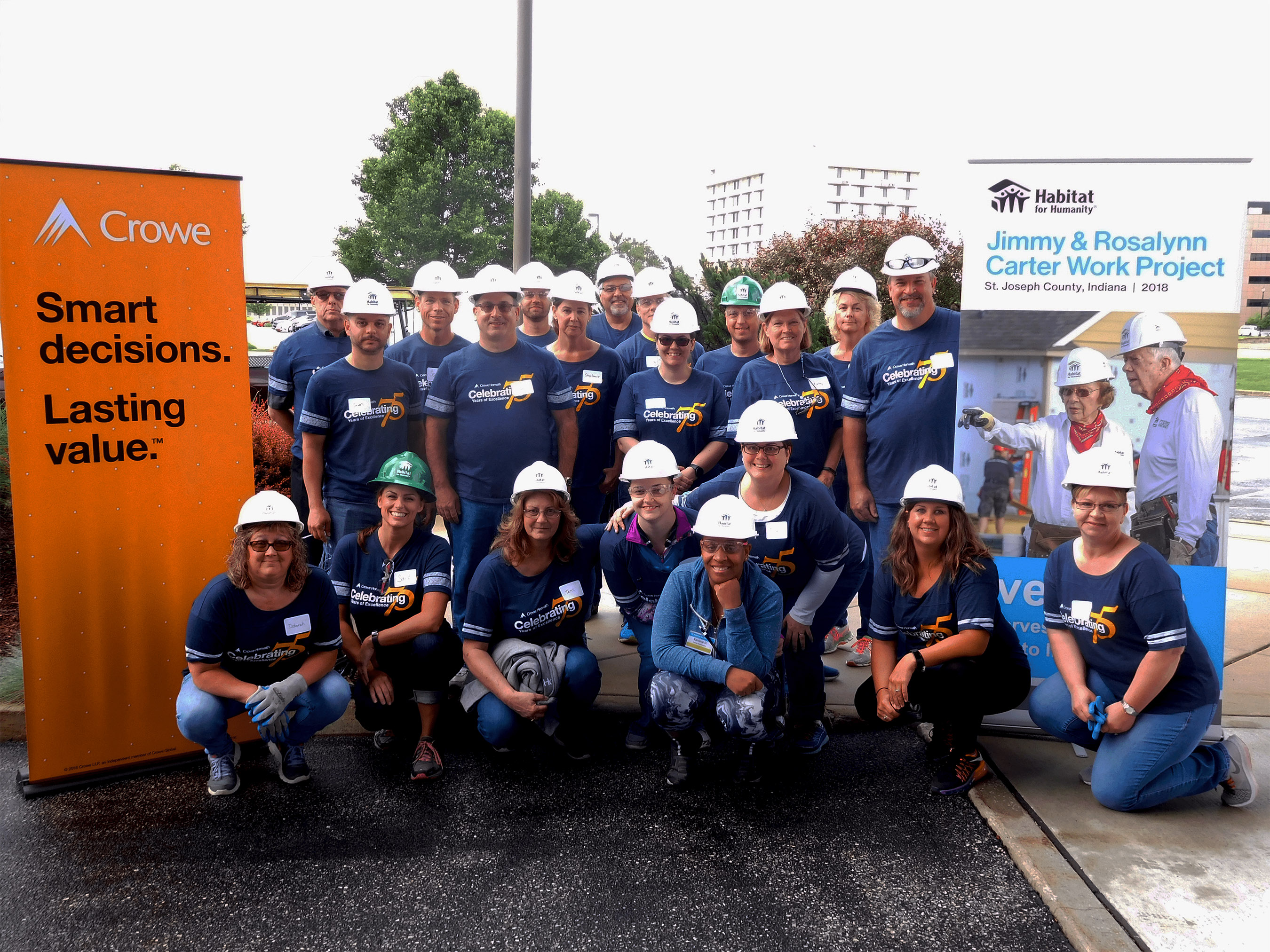 The Crowe South Bend office hosted a Habitat for Humanity build, supporting the Jimmy & Rosalynn Carter Work Project.