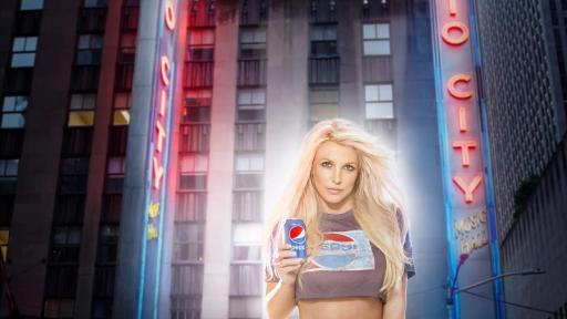 Longtime Pepsi musical artist Britney Spears pictured in front of Radio City Music Hall.