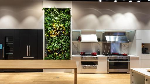 A living herb wall in the dining center of the Miele Experience Center