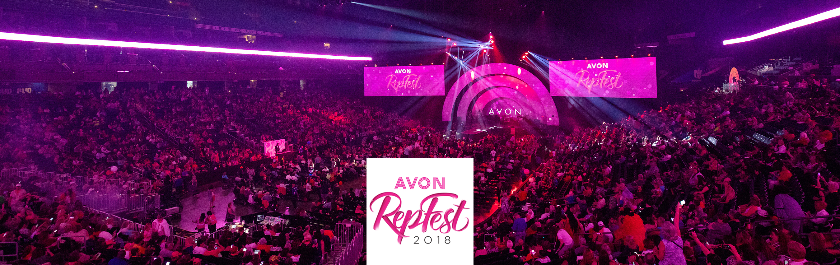 Stadium filled with people inside the Avon rep fest event