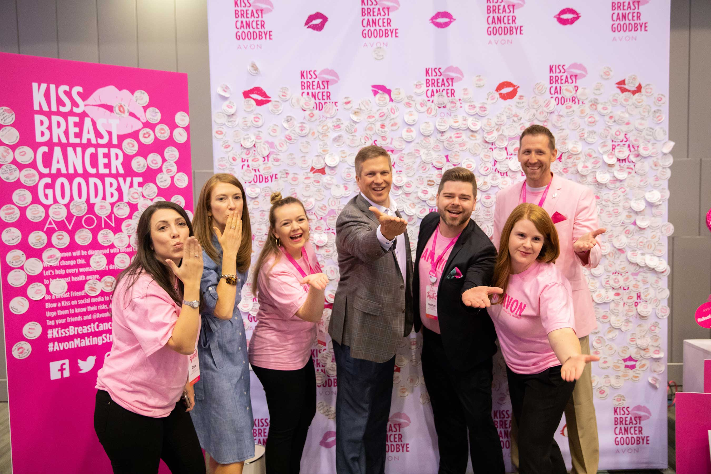 Avon and the American Cancer Society team up to launch the Kiss Breast Cancer Goodbye Campaign in support of American Cancer Society Making Strides Against Breast Cancer.