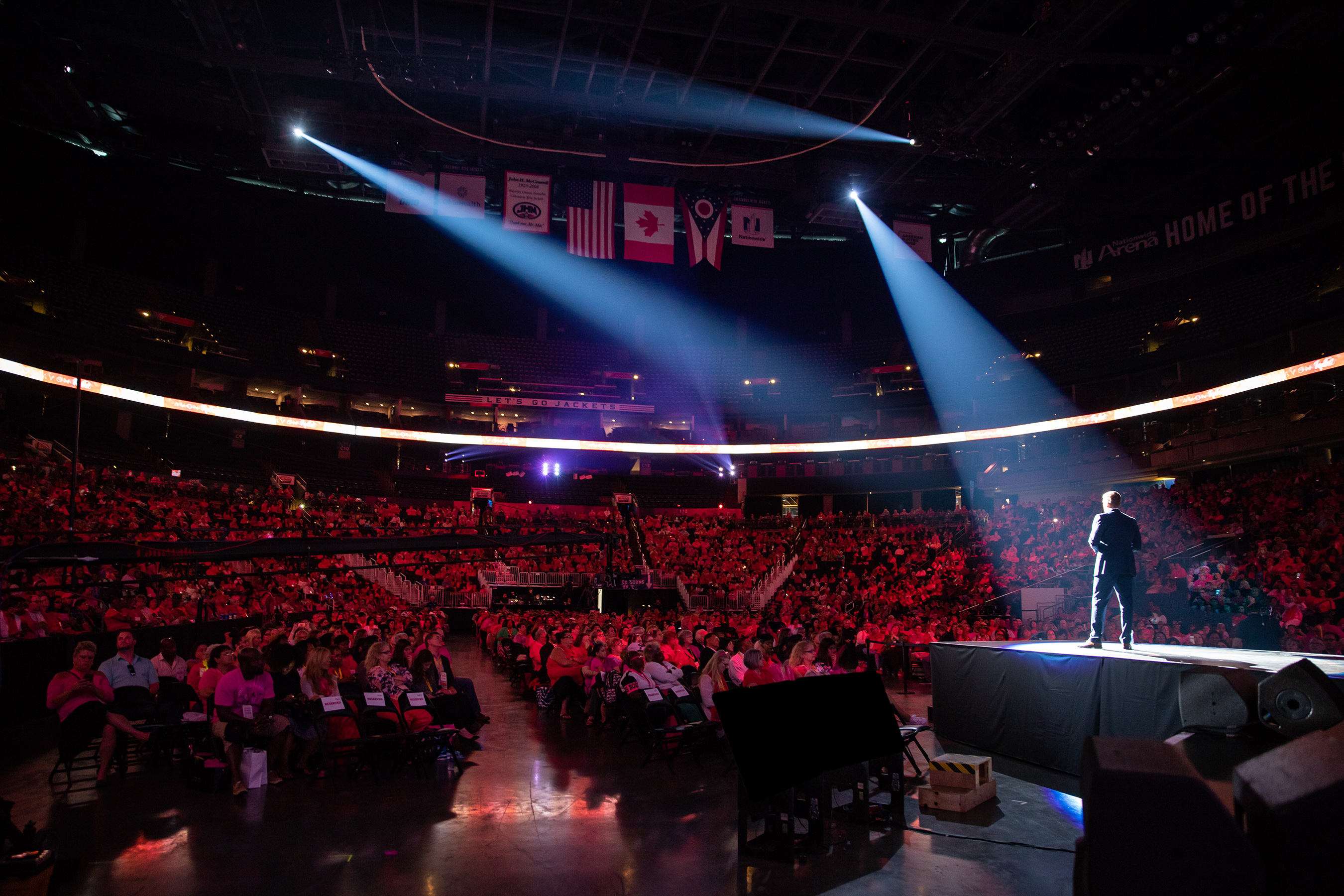 Scott White, Chief Executive Officer of New Avon, LLC, speaks before 5,000 Avon Representatives at RepFest 2018 at the Nationwide Arena in Columbus, OH.