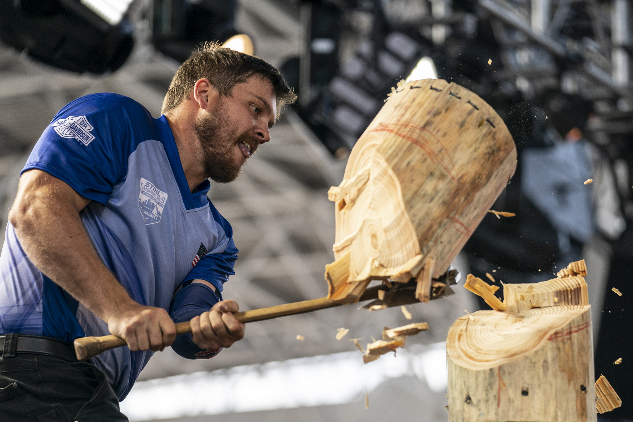 The champion dominates in the springboard chop
