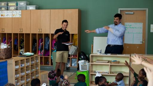 Credit One Bank and driver Kyle Larson visit with Meeting Street students