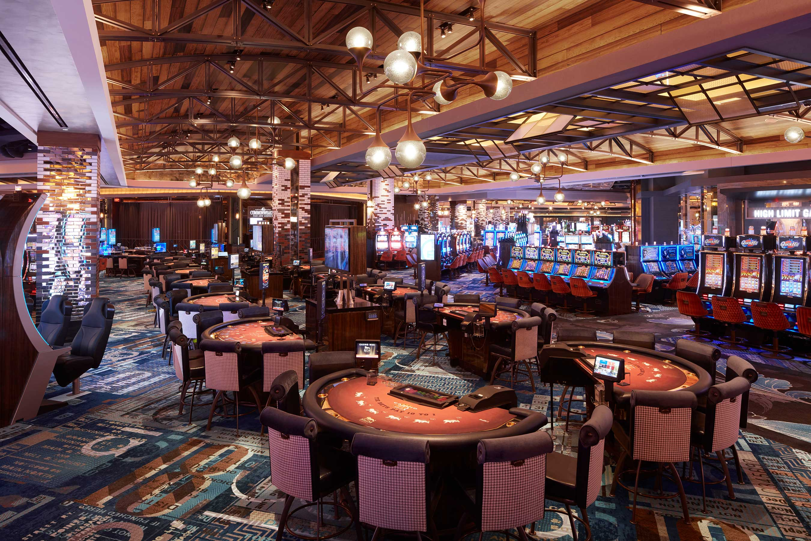 The casino at MGM Springfield offers 2,550 slots, 120 table games, a high-limit area and poker room.
