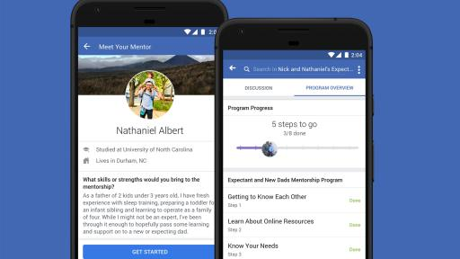 Two smartphones depicting the mentors program on Facebook.