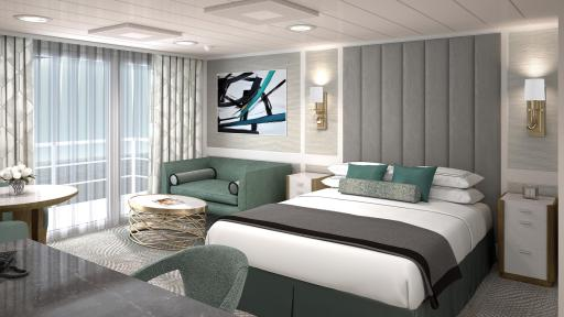 A Beautiful large room of the Penthouse Suite, with cool color decor and a large bed in the center of the room.
