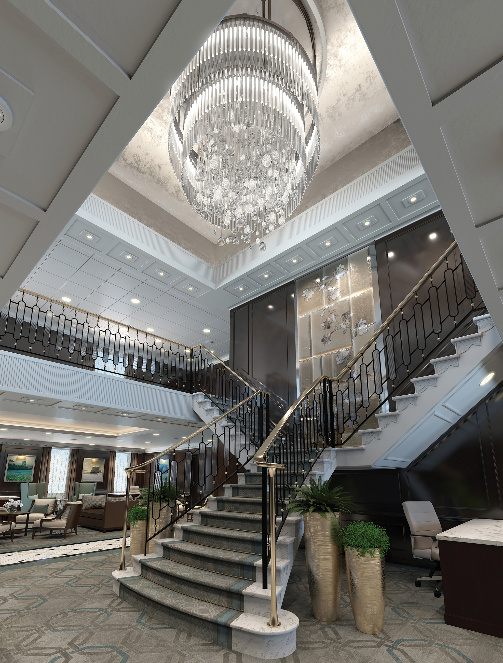 The Grand Staircase of the reimagined Regatta-Class ships