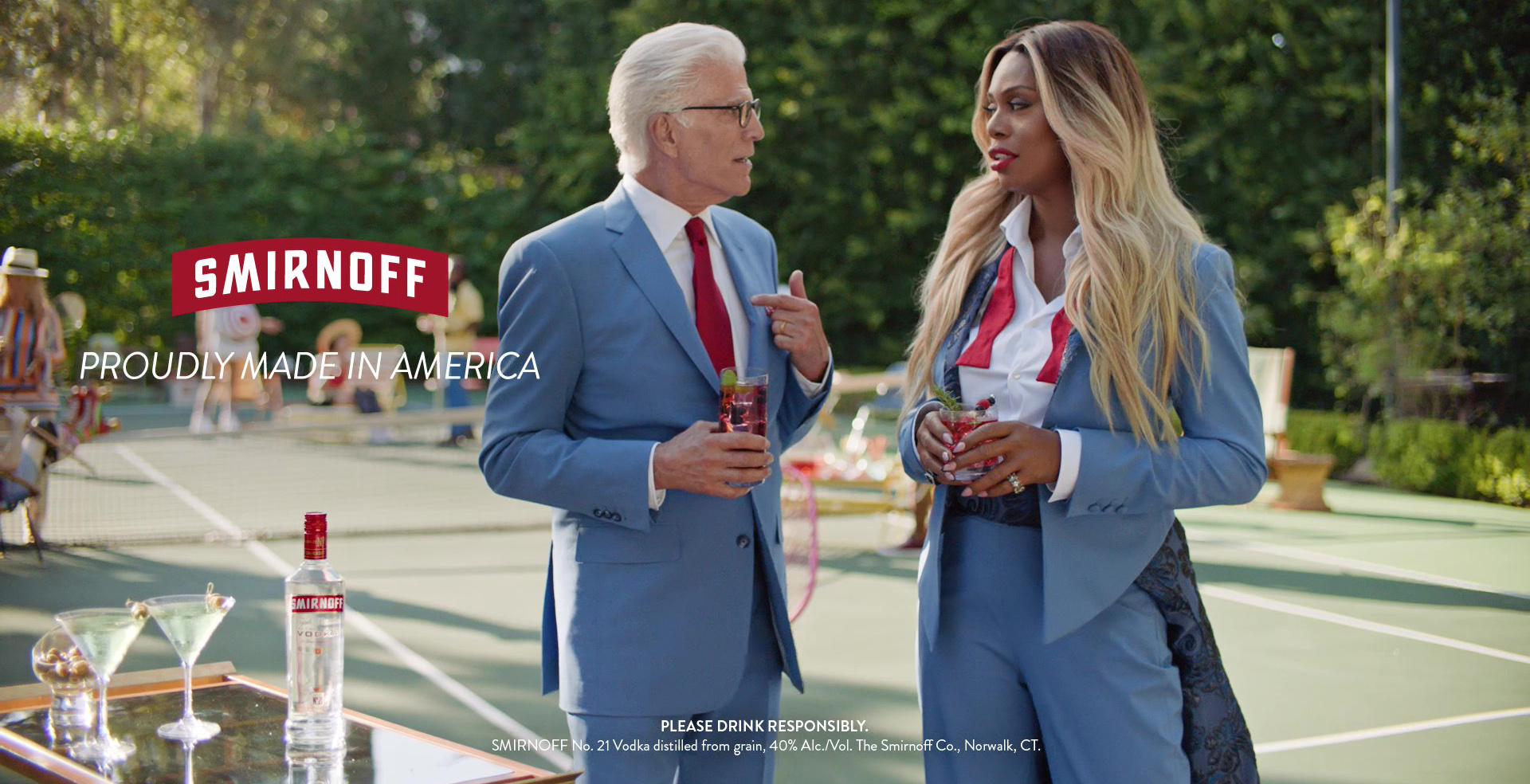 "Laverne Cox Challenges Ted Danson to a Game of ""Who Wore It Best"" on the Set of SMIRNOFF's New Fun% Campaign Shoot"