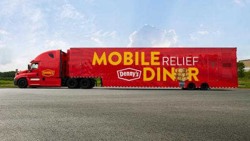 Side shot of the Denny's Mobile Relief Diner