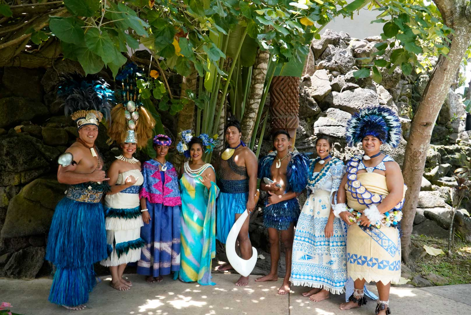Cast members of Huki, including Mother Earth, demigod Maui and representatives of the Polynesian Cultural Center's six island villages, pose for picture following the inaugural show.