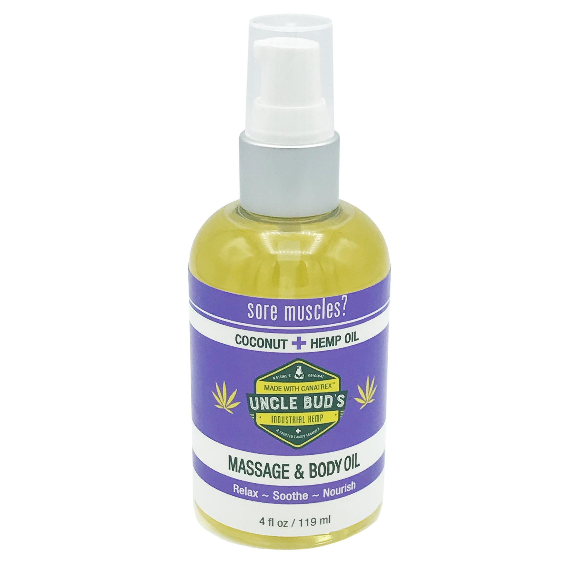 Uncle Bud's Hemp Massage & Body Oil. Relieve aches and pains with this versatile, fast-absorbing, coconut-scented oil. $19.99