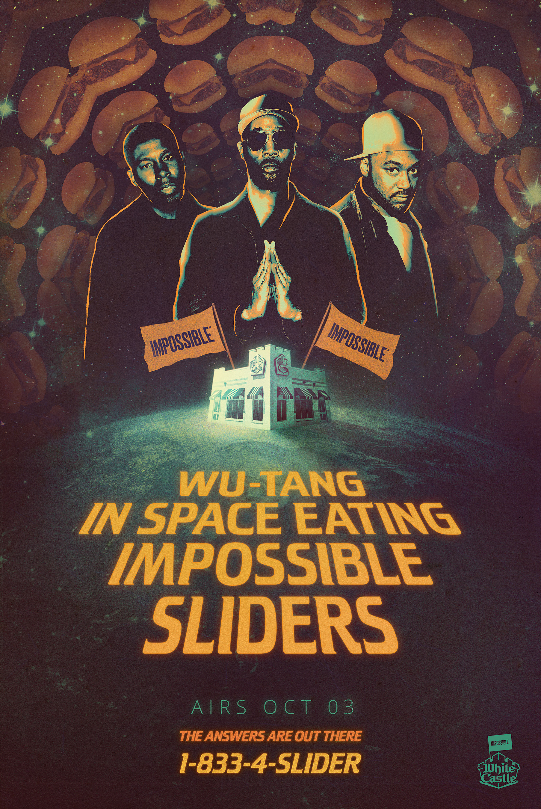 Tune in October 1st to watch Wu-Tang in Space Eating Impossible™ Sliders. The Wu is answering Earthlings' questions about life, love, existence, anything! If you have a question, call 1-833-4-SLIDER!