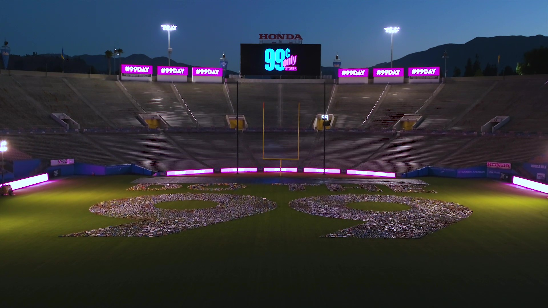 The Guinness World Records title for the Largest packaged product number was set by the 99 Cents Only Stores in under 24 hours, with over 100 people at the Rose Bowl Stadium Field on Sept. 9 for #99Day.