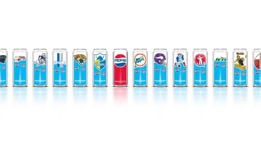 Pepsi X NFL Limited Edition Cans lined up in a row on a white background.