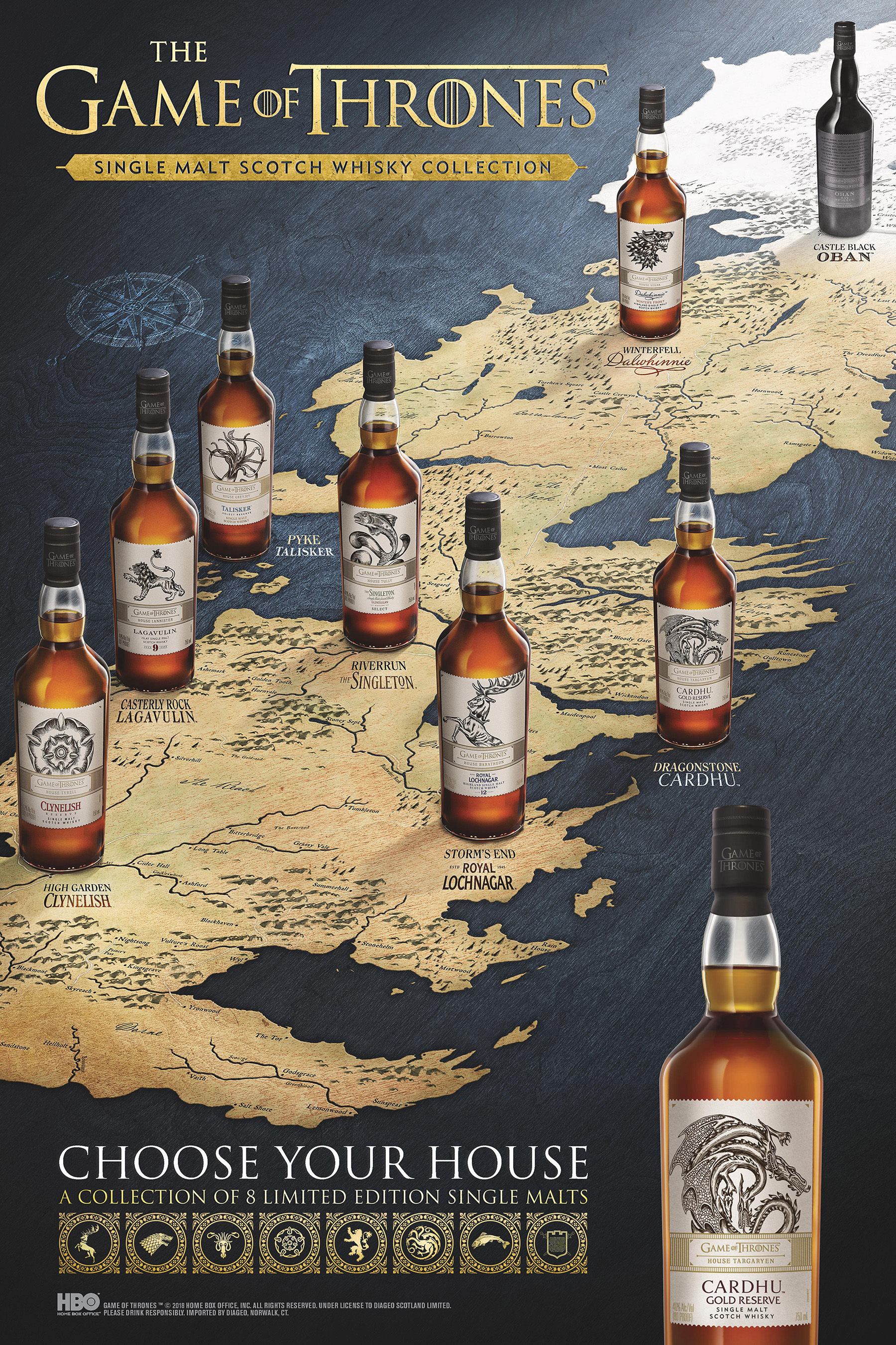 Each of these rare scotches is paired with one of the iconic Houses of Westeros, as well as the Night's Watch