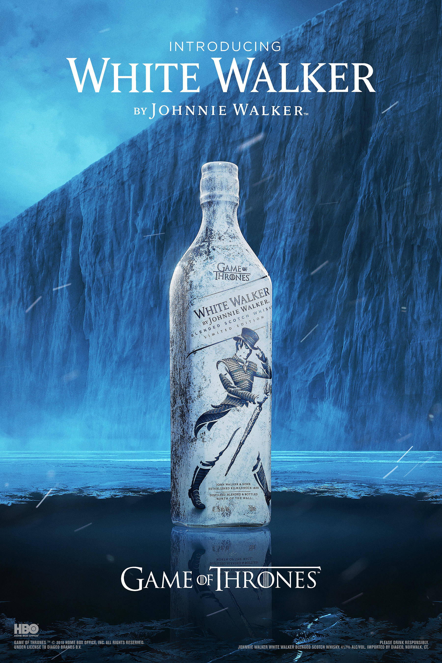 White Walker by Johnnie Walker is a limited-edition Scotch whisky blend inspired by the chill-inducing White Walkers characters from Game of Thrones.