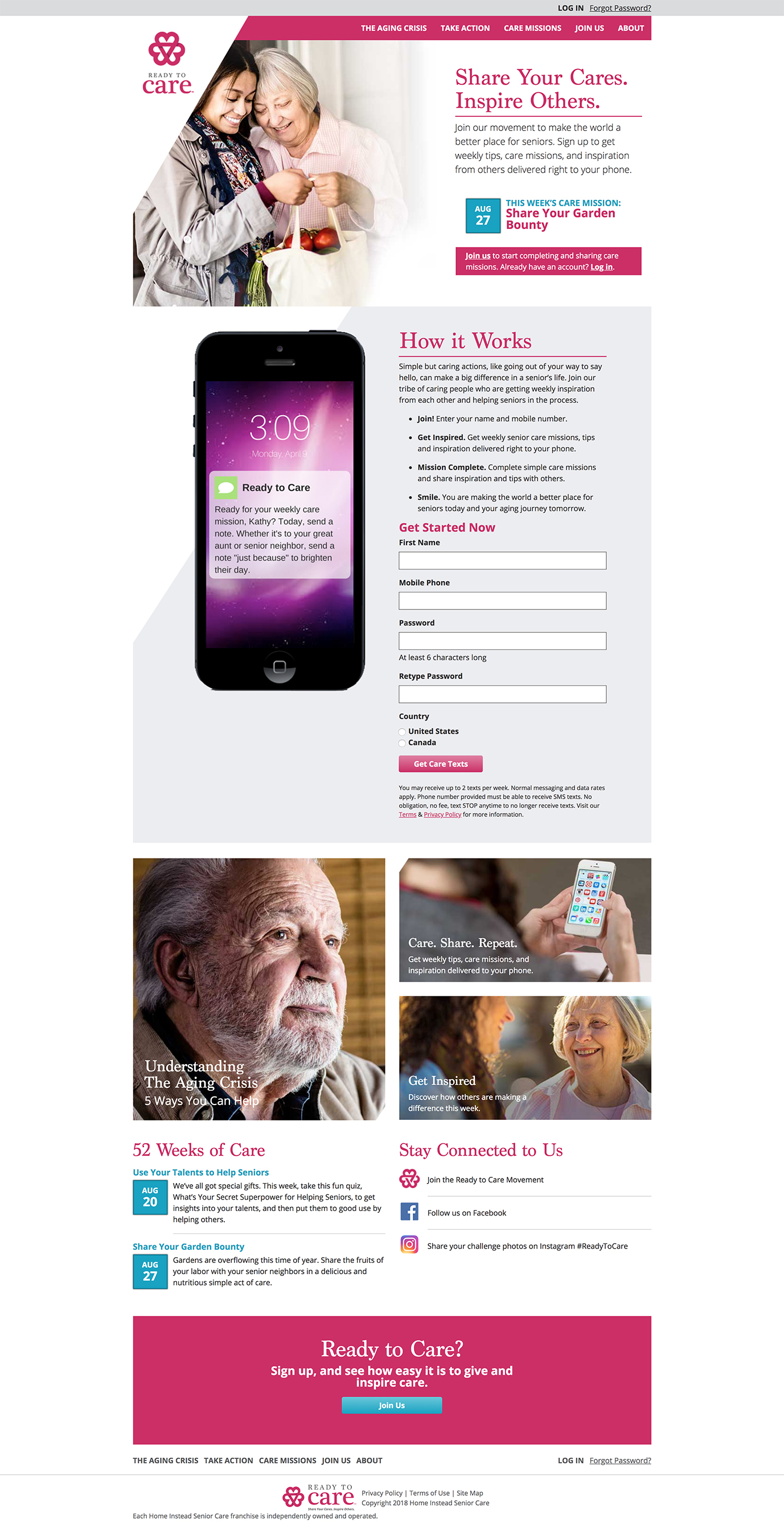 Ready to Care encourages users to take action via weekly text messages.