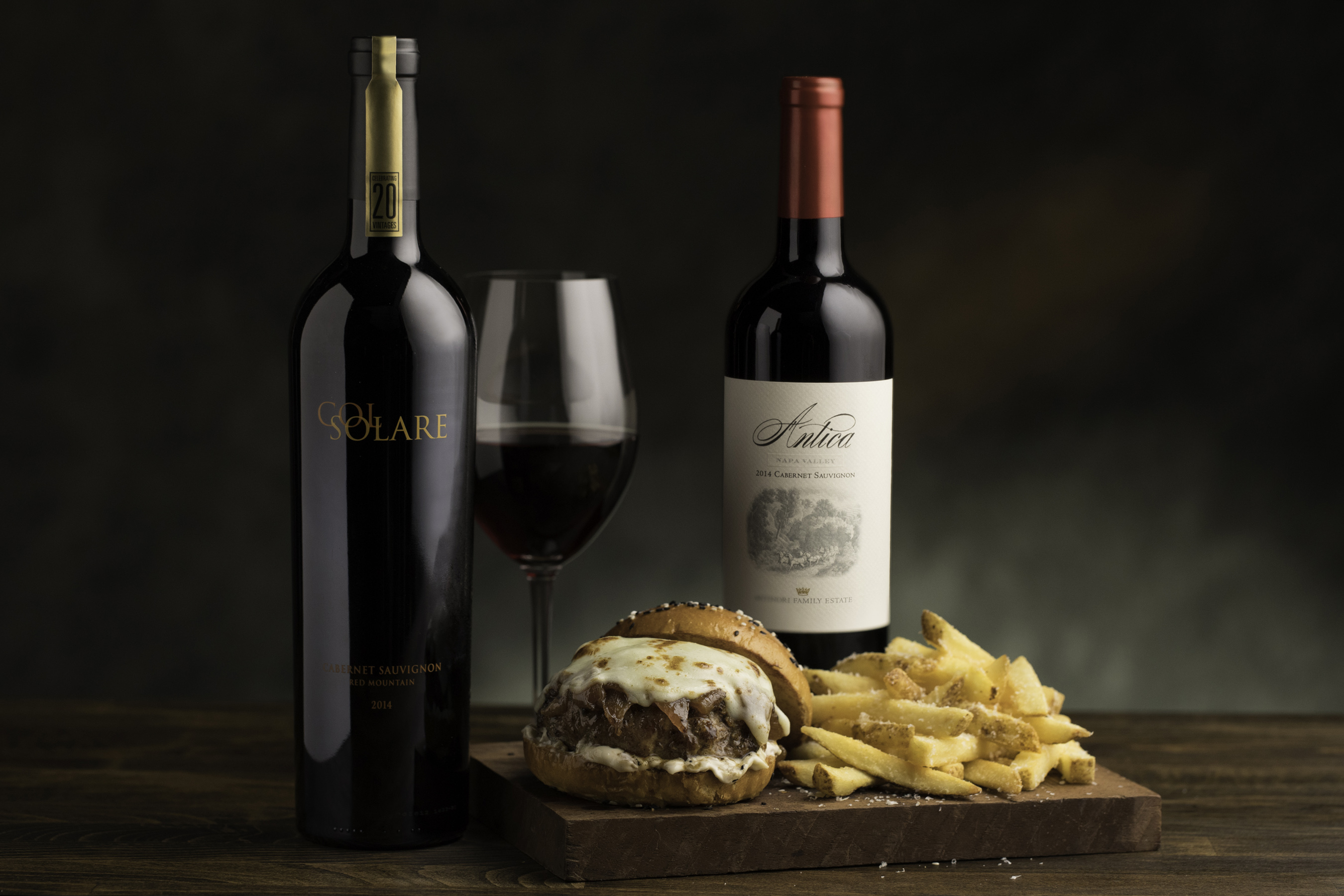 Pair the limited production Antinori Col Solare with the Caramelized Onion Wagyu Burger