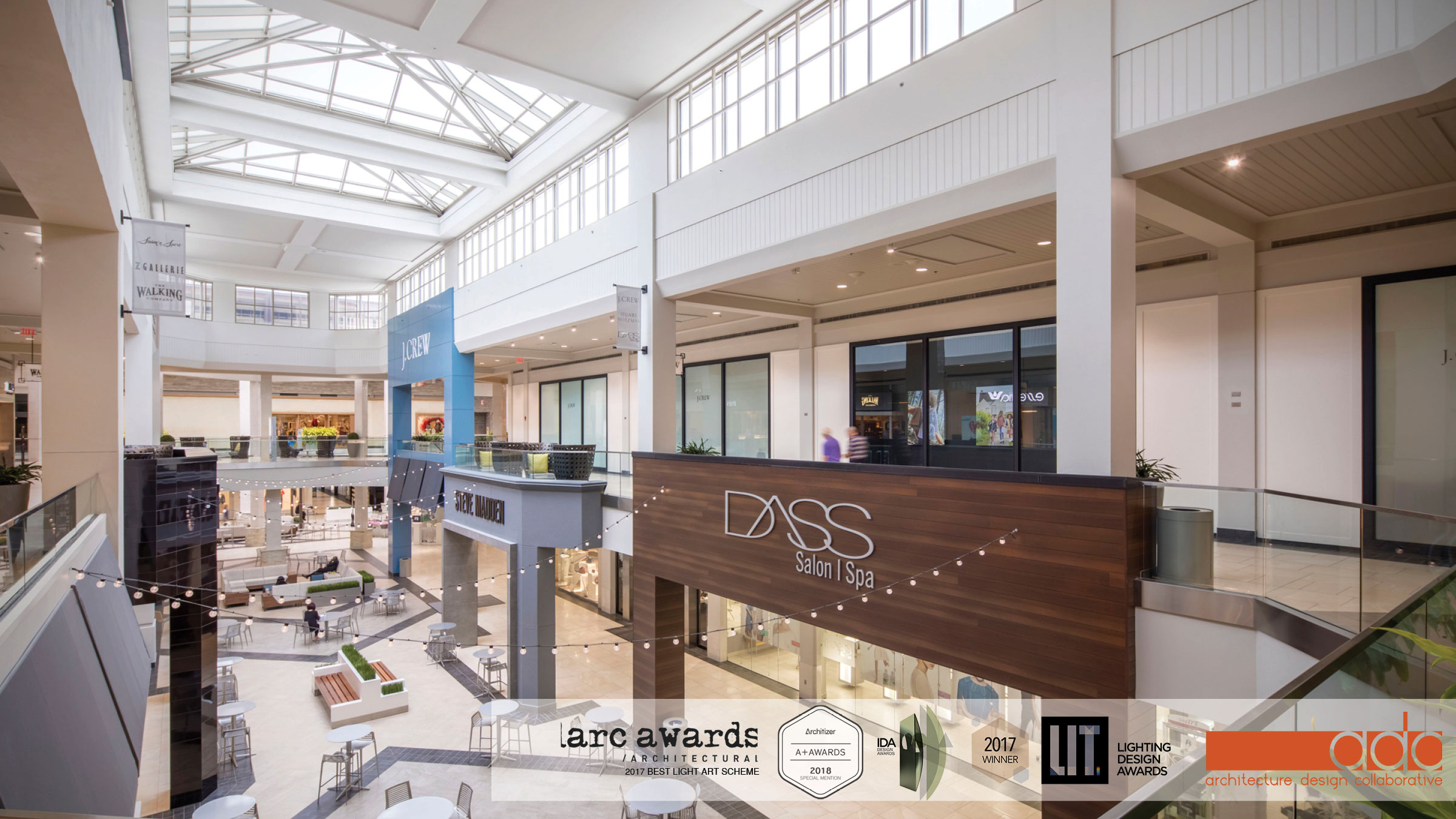 Architecture Design Collaborative (ADC) has worked on this exciting Mall Renovation project in Atlanta, GA since 2014. Led by Craig Chinn, AIA and Alexandra Gomez the project is designed to transform a traditional interior mall into the feeling of an outdoor shopping destination. The finishes, colors, and materials that the shoppers would experience needed to represent the outside environment. We worked closely with vendors like Mirage Tile, Afalux Tile, and American Import Tile. This attention to detail is what makes this such a successful project for ADC and the Perimeter Mall. Architecture Design Collaborative was integral in all aspects of this Mall Renovation project with designing and directing all of the architectural changes, exterior entrance changes, signage, custom lighting as well as regular mall lighting, restroom design and renovation, FF&E and all other aspects. ADC has a long history of Mall Renovations as well as Retail projects across the country.