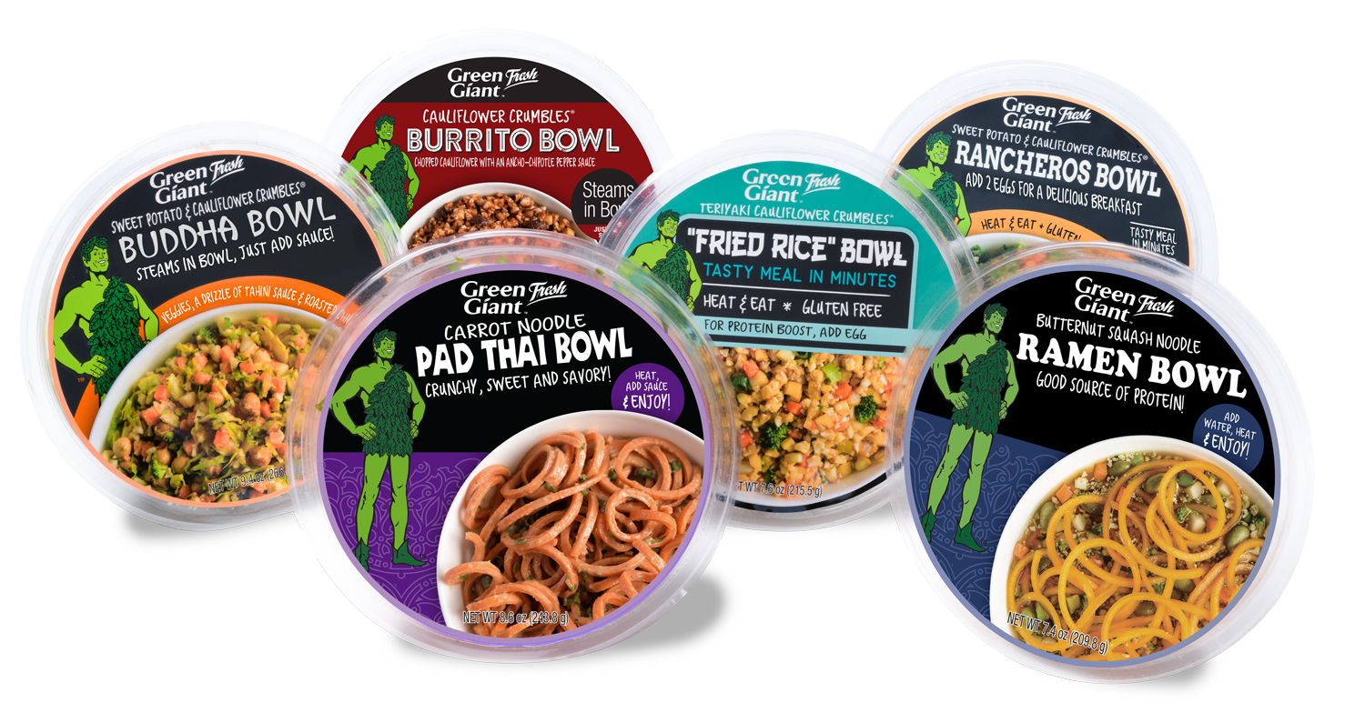 The new Green Giant Fresh Vegetable Meal Bowls line includes six delicious varieties: Buddha Bowl, Burrito Bowl, Fried Rice Bowl, Pad Thai Bowl, Ramen Bowl and Rancheros Bowl.