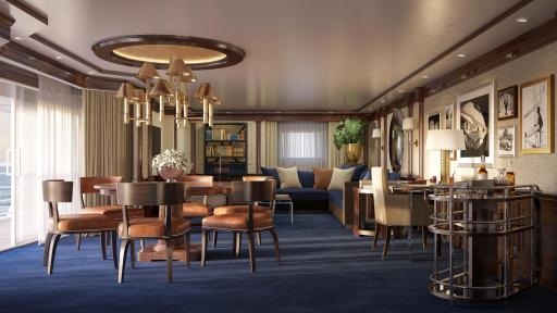 The Living Room in the re-designed Owner's Suite onboard Marina and Riviera