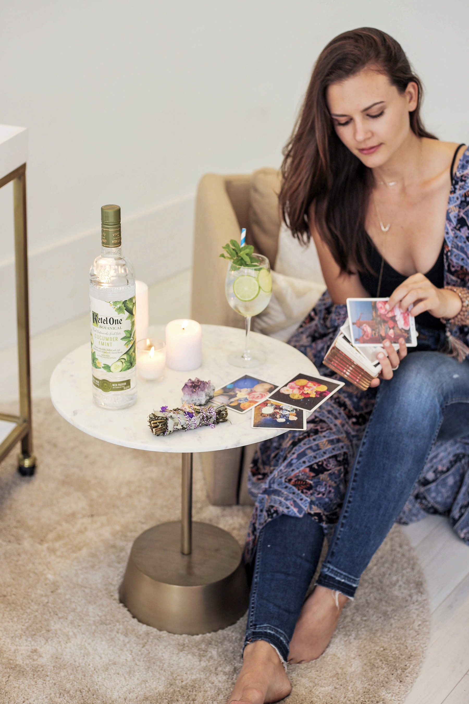 Kate Van Horn prepares for a Spiritual Night In with her closest circle using tarot cards