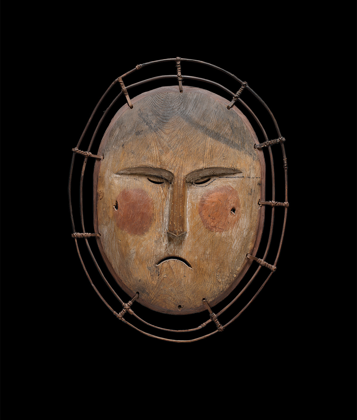 Central Yup'ik, Lower Yukon, Alaska. Dance mask, representing the Moon-Woman c.1870. Wood, pigment, vegetal fibers, sinew. Private collection. Photo by Craig Smith.