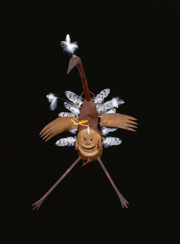 Central Yup'ik, Napaskiaq Village, Kuskokwim River, Alaska. Aiviqaq yua (Sandhill Crane spirit) dance mask c. 1900. Wood, feathers, pigment, vegetal fibers. Collection of the Fenimore Museum, Thaw Collection, T0651.