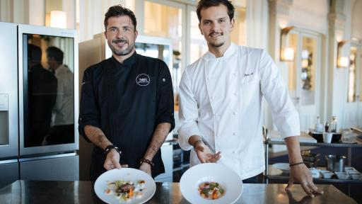 Chefs Christopher Crell and Juan Arbelaez with their own signature dishes ©Lewis Joly