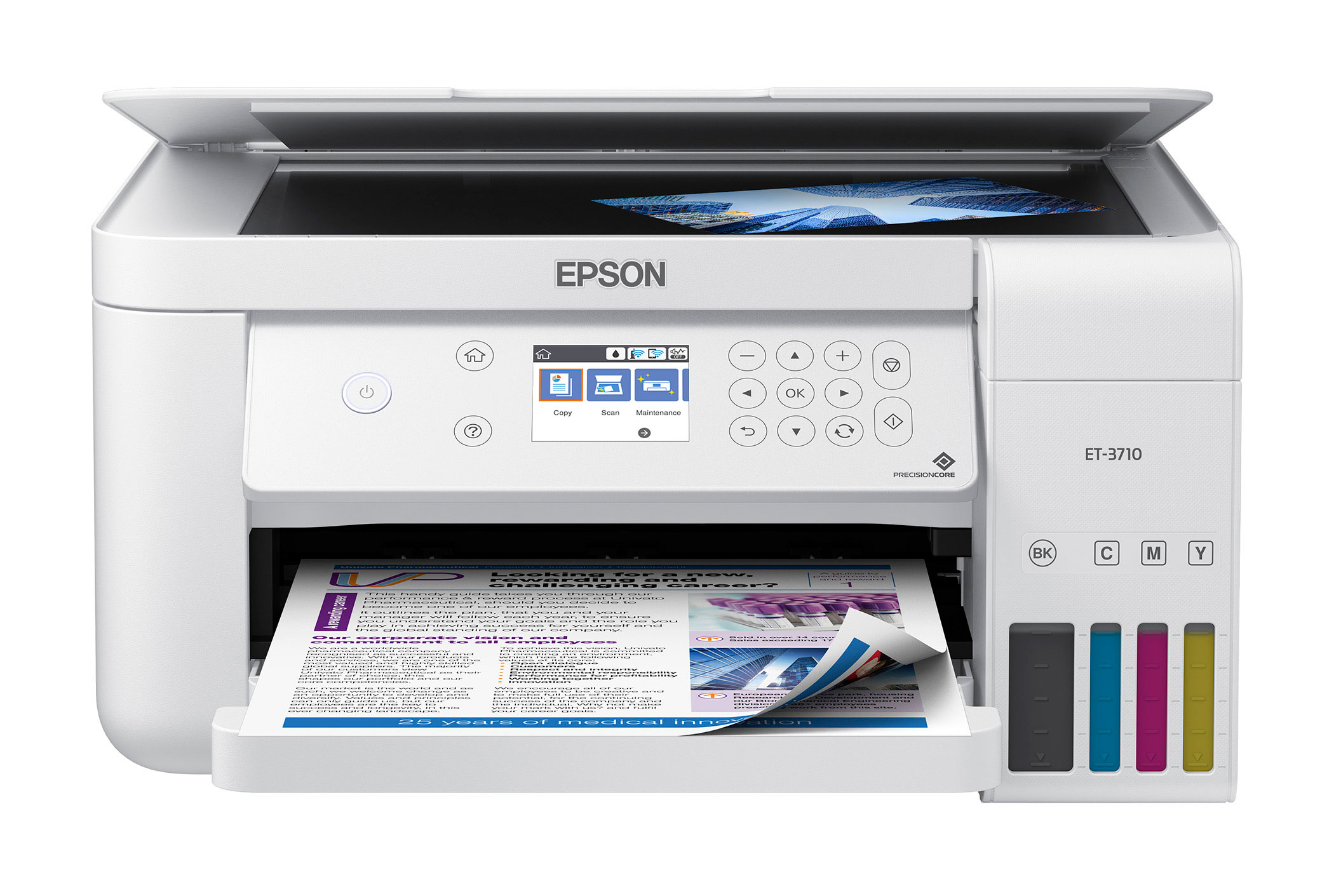 The Epson EcoTank ET-3710 All-in-One Supertank Printer offers enhanced features and voice-activated printing.