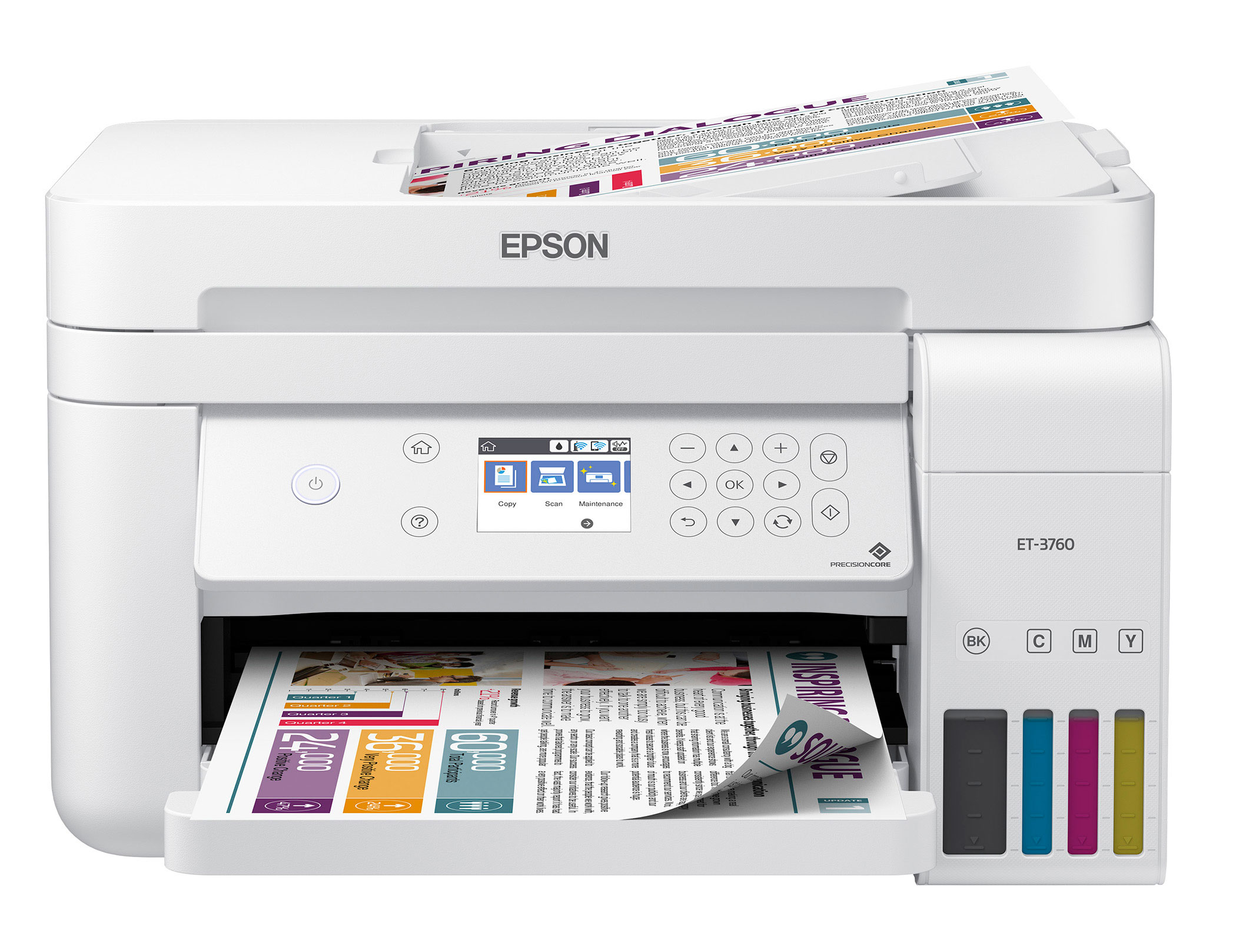 The Epson EcoTank ET-3760 All-in-One Supertank Printer offers wireless, cartridge-free printing with ADF and time-saving features.