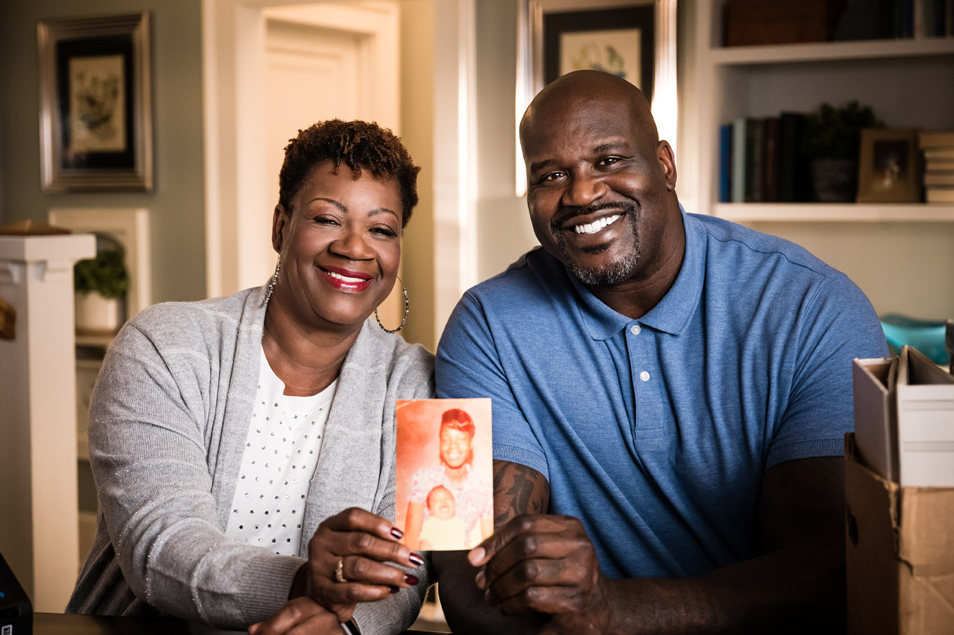 Lucille and Shaquille O'Neal share a photo of Lucille holding Shaquille as a baby