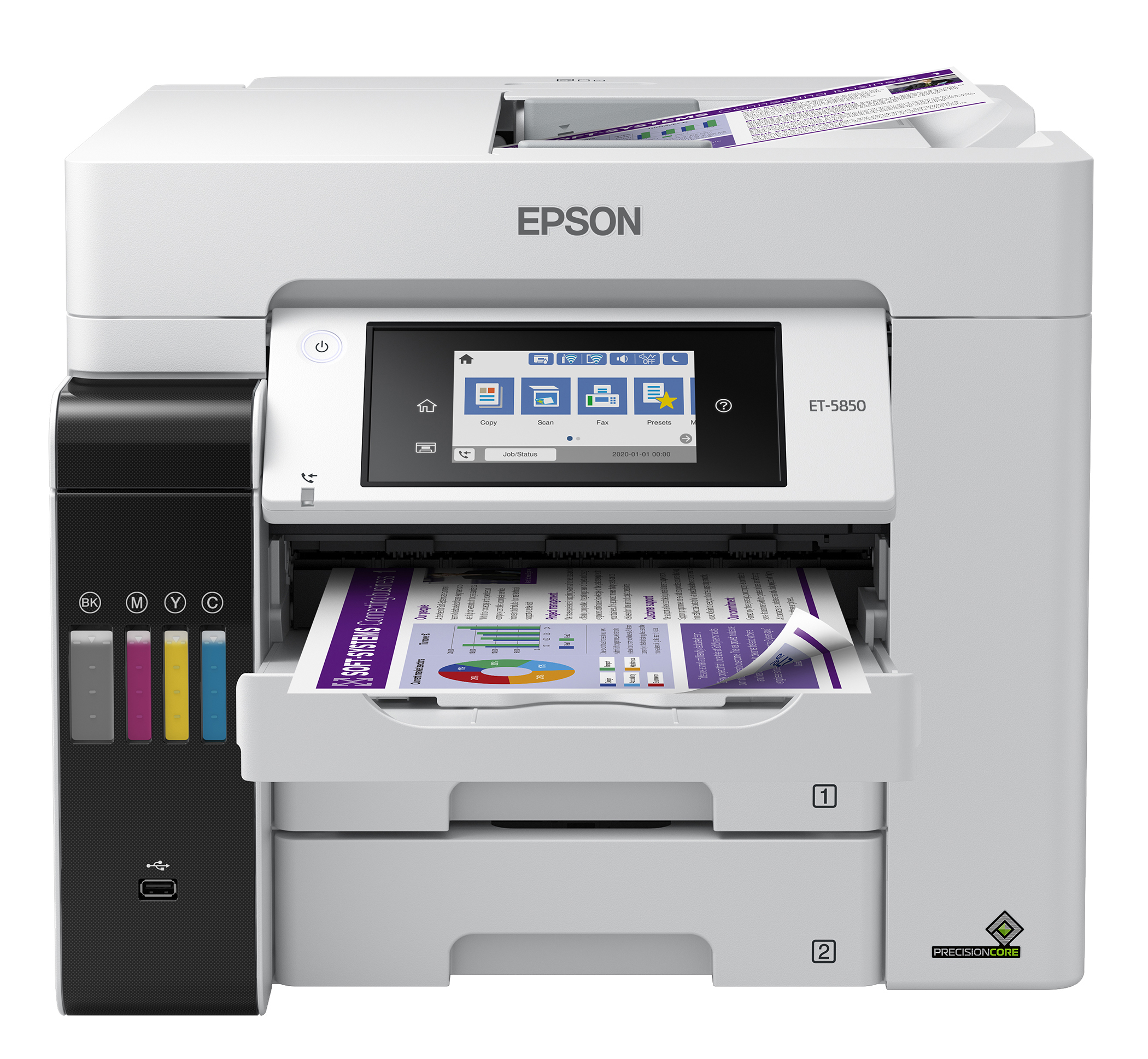 The EcoTank Pro ET-5850 wireless all-in-one printer offers fast cartridge-free printing with easy-to-fill supersized ink tanks, designed to provide reliable, cost-effective and feature-rich printing to small businesses, home offices and workgroups