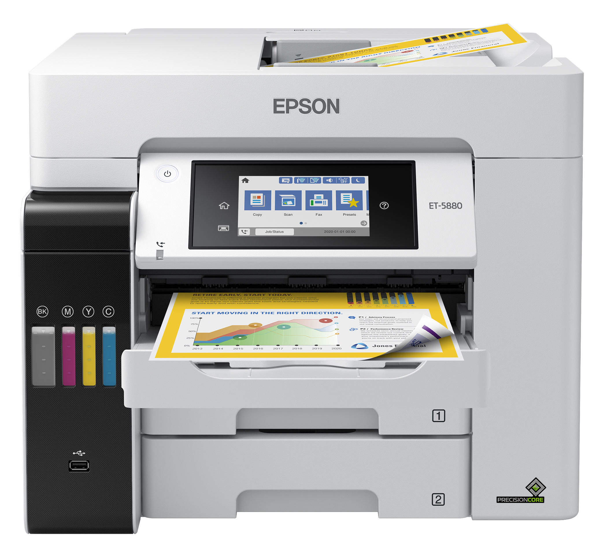 The EcoTank Pro ET-5880 wireless all-in-one printer offers fast cartridge-free printing with easy-to-fill supersized ink tanks, designed to provide reliable, cost-effective, feature-rich printing and PCL/PostScript support(8)