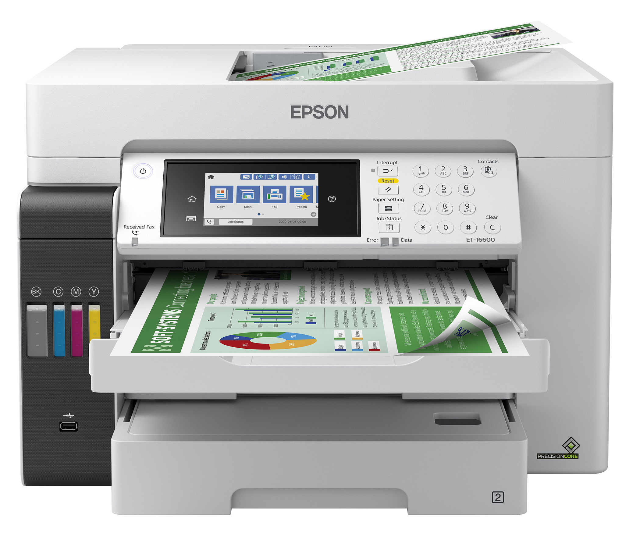 The EcoTank Pro ET-16600 wireless all-in-one printer offers cartridge-free printing with easy-to-fill supersized ink tanks, designed for reliable, cost-effective and feature-rich printing up to 13